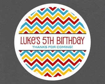 Chevron Personalized Birthday Stickers, Chevron Tags, Chevron Birthday Tags