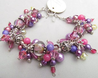 Lampwork bracelet with sterling silver and beaded charms swarovski crystal, Spring Garden