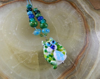 "Lampwork Bead Set, Flat Frit Cat Focal Pendant and Matching Spacer Beads: ""Monet's Cat Deux"""