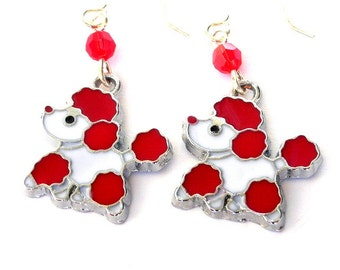Red poodle earrings, cute puppy dogs, enamel red and white charms with Swarovski crystal elements, adorable animals