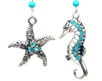 Starfish and seahorse earrings, antiqued silver and turquoise earrings, mismatched sea earrings