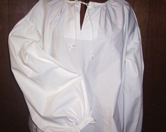 Men's white Pirate, renaissance, poet shirt  Custom made to fit you