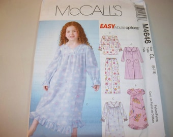 New McCall's, Girls' Sleepwear  Pattern, M4646  CL (6-7-8)  (Free US Shipping)