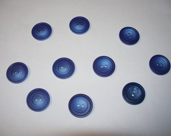 10 Large, Blue  Buttons,  Lot 2199 (Free US Shipping)