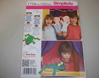New Simplicity Hand Puppet Pattern, 1729.  (Free US Shipping)