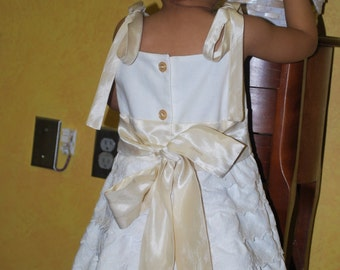 Custom Flower Girls Sun Dress Heirloom Wedding Beach Photo Ivory Cream Champagne Satin Layers Eyelet Lace Size 1/2t 1t 2t 3t 4 5 6 7 8 10 12
