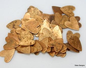 vintage brass hearts 20 pieces tiny