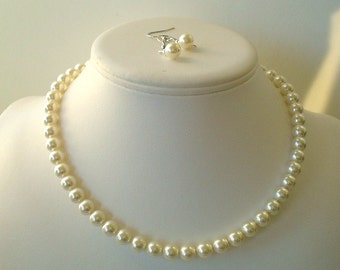 Single Strand Dark Ivory Swarovski Pearl Beaded Necklace and Earring Set    Great Brides or Bridesmaid Gifts