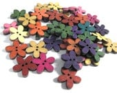 25 Mixed Colors Buttons - Wood sewing buttons 20mm - Flowers shapes (BB100B)