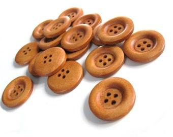 6 auburn wooden buttons 23mm  (BB123)