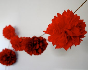 SCARLET / diy tissue paper pom garland / nursery garland / wedding decorations / birthday party decor / red decorations / string of poms