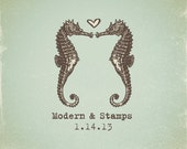 Wedding Stamp   Custom Wedding Stamp   Custom Rubber Stamp   Custom Stamp   Personalized Stamp   Vintage   Seahorse in Love Stamp   V10