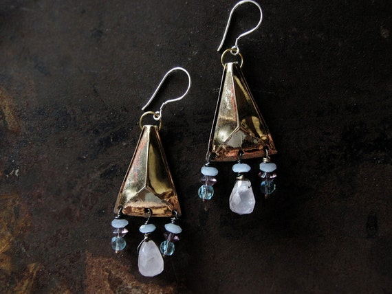 Asleep - assembalge earrings - tribal sci fi - gold triangles - rose quartz - vintage beads