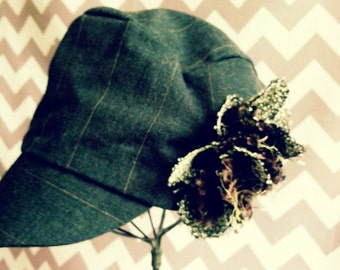 Up cycled WOOL baby HAT with wool flower