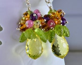 oOo Sale oOo Lemon Quartz Gemstone Dangle Earrings Pink Sapphire Peridot Amethyst  Sterling Silver Wire Wrapped Earrings,Calypso