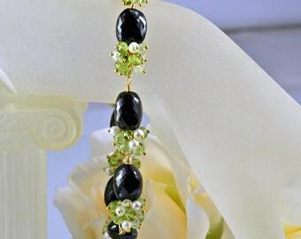 Black Spinel Peridot Gemstone Bracelet,Phrenite,Freshwater Pearls,14k Gold Filled Wire Wrapped Bracelet