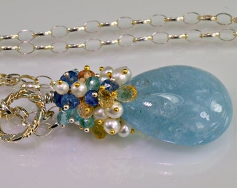 Aquamarine Gemstone Necklace,Pearls,Kyanite,Topaz,Sterling Silver Wire Wrapped Necklace