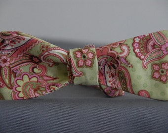 Pink and Green Paisley  Bow Tie