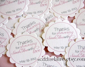Personalized Pink and Gray Bridal Shower or Wedding Favor Tags