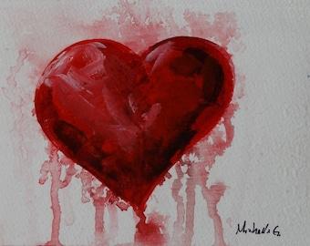 Original Fine Art Painting - Red Heart