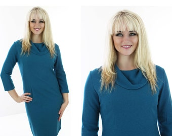 Vintage Wool Dress Teal Wiggle Bodycon Cowl Neckline Soft Lightweight Material Mod Retro Large L