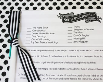 Bridal Shower Game- Name that Movie Love Quote