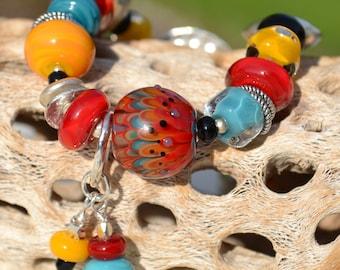 RUSTICA-Handmade Lampwork and Sterling Silver Bracelet