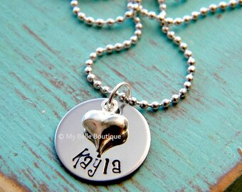 Personalized Hand Stamped Necklace with Single Name and Silver Tone Heart Charm