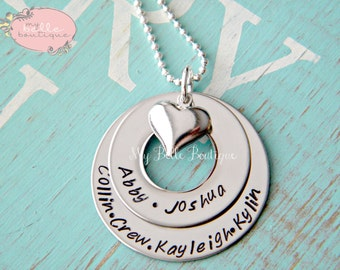 Personalized Hand Stamped Stacked Washer Family Necklace with Heart Charm