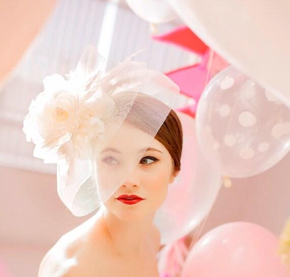 Bridal Hat, Wedding Hair Accessory, Wedding Veil, Bridal Fascinator, Feather HeadPiece - BLISS