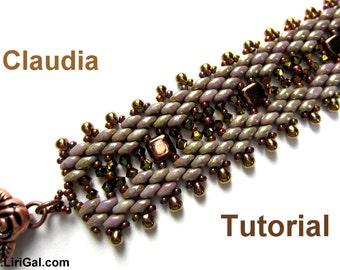 Tutorial Claudia SuperDuo and Tile Beadwork Bracelet PDF