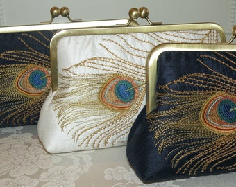 Peacock Silk Clutch/Purse/Bag..Bronze Feather Embroidery..Ivory/Navy..Bridal..Hochzeit..Free Monogramming..Bridesmaid Gift