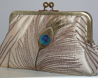 Peacock Feathers Embroidered Silk Luxury Clutch/Purse Ivory..Long Island Wedding Gift..Something New Something Bridal Blue/Free Monogramming