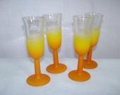 Vintage Blendo Cordial Glasses Set of 4 Orange