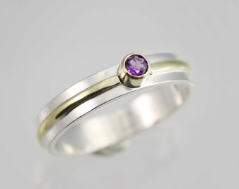1 Stone Wrap Ring 14K (Genuine Amethyst) (Made to Order)