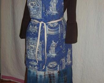 Apron Cornflower Blue & Ivory Toille Textile