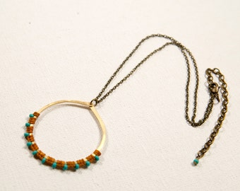 Full Moon Rising Necklace (camel, turquoise)