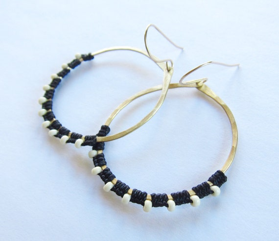 Full Moon Rising Hoops in black and white