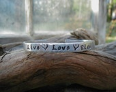 LIVE, LOVE, RIDE  Hand Stamped Cowgirl Equestrian Western Rodeo Horse Lover Cuff