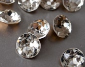 6 Vintage Swarovski or Czech New Old Stock White 7mm Rhinestone Round Chaton Pointed Back