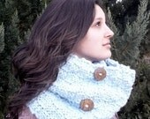Light Blue Chunky Infinity Basketweave Cowl Scarf or Hood with Wood Buttons, thick and warm