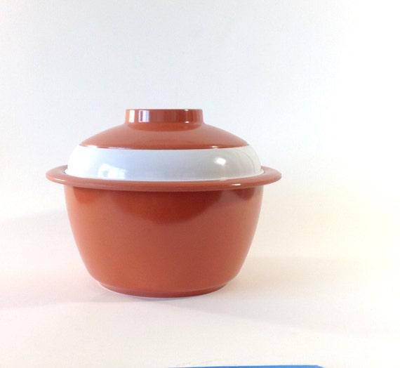 1950s Vintage Ice Bucket Kenro Melmac Orange Vintage Bowl Melamine Flying Saucer