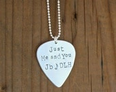 Custom Guitar Pick Necklace, Sterling Silver DOUBLE SIDED PERSONALIZATION, Music Lover Gift, Guy Gift, Father's Day Gift, Music Teacher Gift