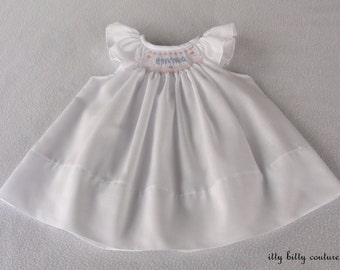 Smocked Personalized  Baby Girl Dress, White Dress with Angel Sleeves