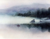 Mountain Lake Fisherman In A Boat, Watercolor Art Print, Misty Lake Scenery, Lake Landscape, Morning Mist, Impressionist Art, 6x8, Lmtd. Ed.