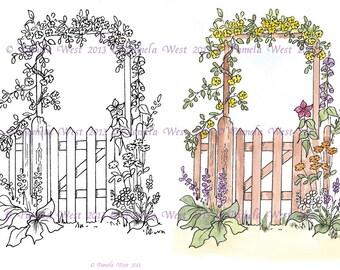 Digistamp Instant Download. Garden Gate  Digital stamp and coloured stamp