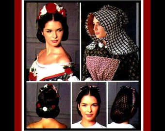 Civil War Millinery Collection- Costume Sewing Pattern-Three Styles -Floral Headpiece -Ribbon Bow Snood -Ruffle Edge Bonnet -Uncut- Rare