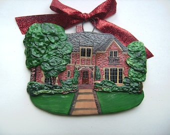 Custom listing  SummerLove- two Custom House Ornaments- a cherished keepsake of your home