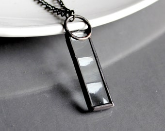 Modern Clear Glass Bar Necklace - Stained Glass Jewelry