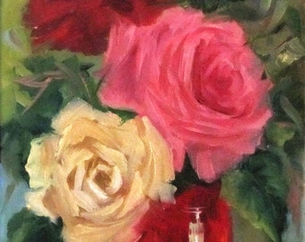 Still Life Oil Painting Red Vase - Red-White-Pink Roses Original Canvas Painting by Cheri Wollenberg